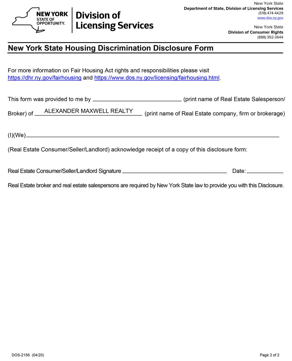 NYS Fair Housing Disclosure