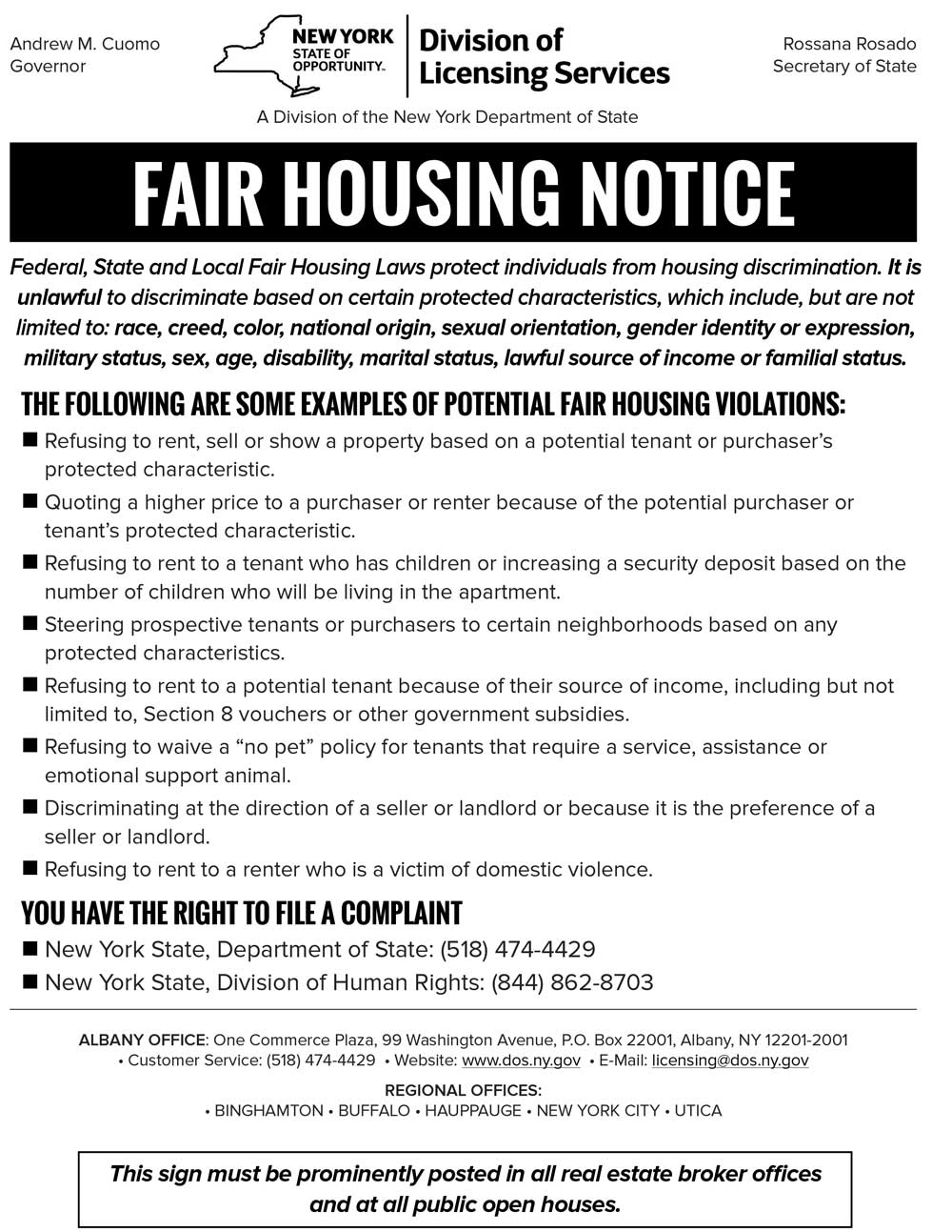 NYS Fair Housing Notice